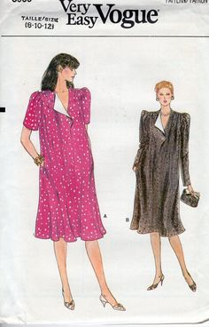 5b813ef9a51f5 FREE US SHIP Vogue 8959 Vintage Retro 1980s 80s Loose Fitting Maternity  Dress Size 8 10 12 Uncut Sewing Pattern Pullover Bust 30 31 32