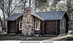 Log Cabin In The Woods. Visitors center for the Huron National Forest. Built by the CCC in the 1930's, this is a public building in a federal park and not a privately owned property or residence.