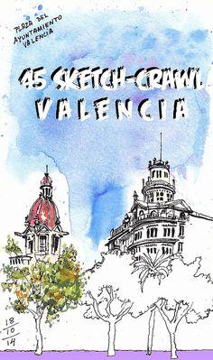 Plaza del Ayuntamiento by Jose Castellanos. 45th Sketchcrawl Valencia.