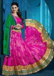 Wedding Wear Pink Net Embroidered Work Lehenga Choli