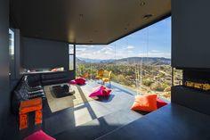Fireplace, Living Room, Floor-to-Ceiling Windows, Mountain Home in Twentynine Palms, California