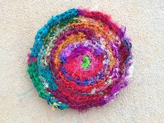 Silk sari ribbon crocheted hot pad, crochetbug, kitchen decor, crochet circle