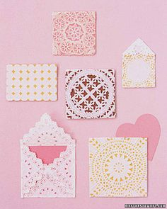 Paper doilies make delightful, lacy sleeves for hand-delivered valentines.