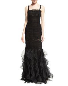 W09J8 Oscar de la Renta Sleeveless Square-Neck Macrame Organza Gown, Black