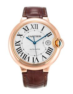 This is a pre-owned Cartier Ballon Bleu W6900651. It has a 42mm Rose Gold case, a Silver Roman Numeral dial, a Alligator - Brown bracelet, and is powered by an Automatic movement.