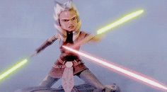 This is one of my favorite moments. Ahsoka protecting her master.