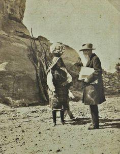 Acoma woman and the artist Thomas Moran, near Acoma Pueblo in New Mexico - 1910