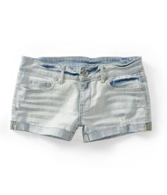 Destroyed Light Wash Denim Shorty Shorts from Aeropostale