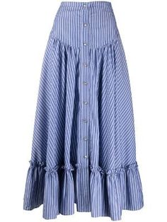 Blue cotton striped button-up skirt from Etro. Featuring a front button fastening, an a-line shape skirt, a mid-length and a striped pattern. Classy Outfits, Stylish Outfits, Modest Fashion, Fashion Dresses, Long Skirt Outfits, Button Up Skirts, Bohemian Mode, Look Fashion, Fashion Design
