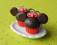 Minnie Mouse cupcake earrings.