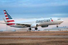 New American B737-800 arriving at Tulsa..