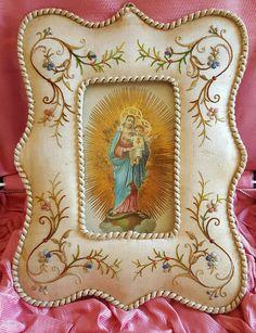 Vendimia francesa Bendita Madre María bordado por PinyolBoiVintage