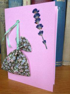 Handmade Pressed Flower Card with Lavender Bag -  Pink £5.00