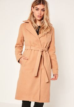Camel Belted Tailored Faux Wool Coat