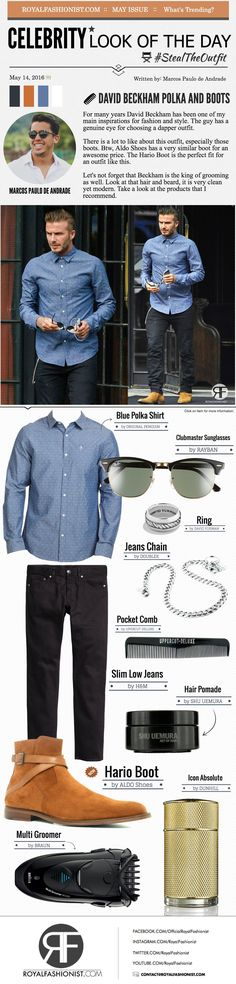 Celebrity Look Of The Day: David Beckham Blue Polka Shirt and Boots | Royal Fashionist