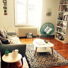 Salon au style scandinave avec un tapis berbère, La décoration des internautes #Décembre - Marie Claire Maison