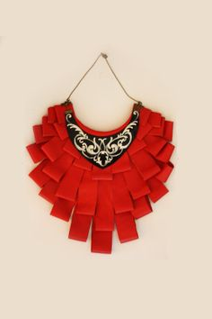 Statement ethnic leather red neckalce hand made by EtnoWareStore,