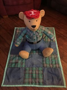 Sewing Teddy Bear Memory bear and blanket made from shirt and pant. Bear is tall. Sewing Toys, Sewing Crafts, Sewing Projects, Memory Pillows, Memory Quilts, Memory Crafts, In Memory Of Dad, Denim Crafts, Fabric Toys