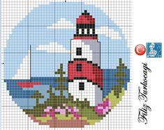 Lighthouse pattern designed by Filiz Türkocağı Cross Stitch Sea, Cross Stitch Charts, Funny Cross Stitch Patterns, Cross Stitch Designs, Cross Stitching, Cross Stitch Embroidery, Pixel Art, Pixel Crochet, Cross Stitch Landscape