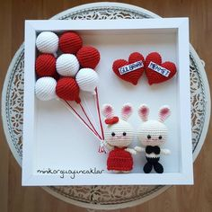 Wedding frame/ Personalized Valentines Day Gift/ Bigli Migli Wedding gift/ Red and White/ Unique Wedding Gift Ideas/ Gift for Couple - Her Crochet Bunny Crochet, Easter Crochet, Crochet Art, Cute Crochet, Crochet Crafts, Crochet Dolls, Amigurumi Patterns, Crochet Patterns, Personalized Valentine's Day Gifts
