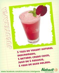 Jugo de betabel con yogur:  Según un estudio publicado en el Journal of Applied Physiology, esa bebida mejora el desempeño físico en hasta un 10% y contribuye a la recuperación muscular.