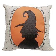 Halloween Witch Head Throw Pillow