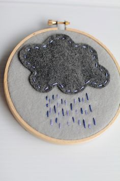 Embroidery Hoop Art Felt cloud Rain Shower Blue by CatShyCrafts