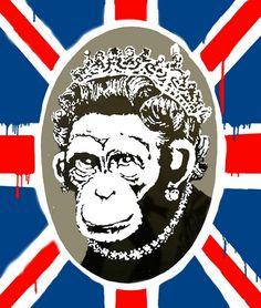 """""""Queen Monkey"""" by Banksy"""