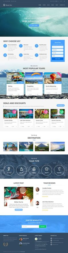 Buy Adventure Tours - WordPress Tour/Travel Theme by themedelight on ThemeForest. Adventure Tours is a Wordpress theme developed for travel agencies and tour operators of any size. It offers a lot of. Travel Agency Website, Travel Website Design, Tourism Website, Website Design Company, Travel Design, Website Designs, Website Ideas, Site Inspiration, Wordpress Website Design
