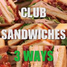 Classic Club Sandwich is part of Club sandwich   Get Classic Club Sandwich Recipe from Food Network -  #healthysnacks Tasty Videos, Food Videos, Food Network Recipes, Cooking Recipes, Healthy Recipes, Serrano Ham, Wrap Sandwiches, Gourmet Sandwiches, Sandwiches For Lunch