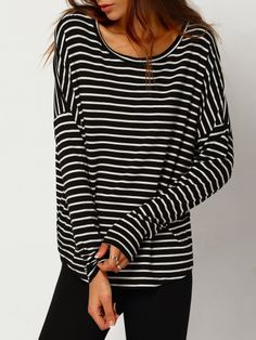 Black White Striped Round Neck T-Shirt