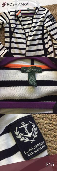 Navy blue and white Ralph Lauren zip up hoodie Navy blue and white sailor zip up hoodie size xsmall - 100%cotton Ralph Lauren Tops Sweatshirts & Hoodies