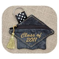 In The Hoop :: Bags, Cases & Wallets :: Grad Cap Coin Pouch - Embroidery Garden In the Hoop Machine Embroidery Designs