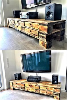 There are some things with the TV, which need to be placed near it like the speakers; so there is a need of something besides or under the TV on which everything which is a part of TV can be placed. Here is the TV cabinet idea with enough space to place items and store the sensitive items in the drawers.