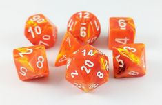 Need Vortex RPG dice? Shop Dark Elf Dice for a set of Solar orange Vortex dice and be the hero of your next RPG adventure. Time to bring the heat!