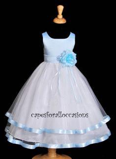 NEW PAGEANT RECITAL GOWN LIGHT SKY BLUE WEDDING FLOWER GIRL DRESS LG 12M 2 4 6 8 | eBay