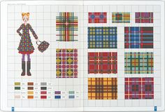 Several plaid patterns / chart for cross stitch, crochet, knitting, knotting, beading, weaving, pixel art, micro macrame, and other crafting projects.