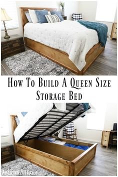 How To Build A Queen Size Storage Bed – Addicted 2 DIY Learn how to maximize on space and organization by building this queen size storage bed with platform lift hardware. The platform lift allows you to easily store totes, luggage, and more!