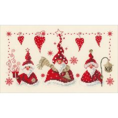 """Cheerful Santas On Aida Counted Cross Stitch Kit-11.6""""X6.8"""" 14 Count"""