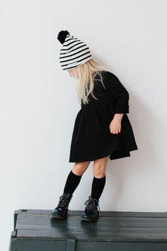 Babydoll dress, Boots, & Striped Pom Pom Beanie