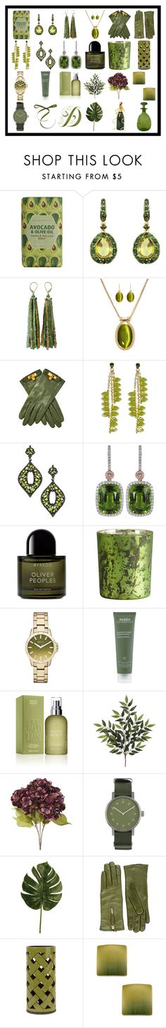 """""""Olive Green 4"""" by franceseattle ❤ liked on Polyvore featuring Crabtree & Evelyn, Annoushka, Mixit, Hermès, James Murray, Divya Diamond, Byredo, Illume, Relic and Aveda"""