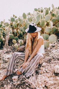 Pants: boho black hat boho striped wide-leg summer outfits