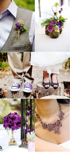 Lilac shirt, grey vest, purple converse