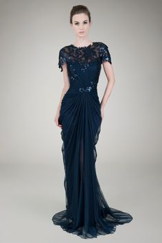 Paillette Lace and Tulle Gown in Navy - Evening Shop | Tadashi Shoji #modest #mother of the #bride
