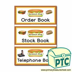 Sandwich Shop Role Play Resources - Primary Treasure Chest Ourselves Topic, Book Labels, Order Book, Sandwich Shops, Role Play, Treasure Chest, Book Covers, Sandwiches, Crafts For Kids