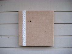 Bulletin Board Natural Burlap and Lace box frame by jensdreamdecor, $34.50