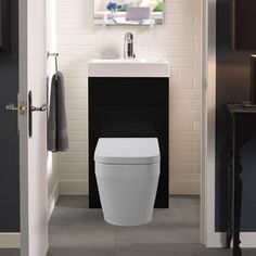 Eco Bathrooms 500 Gloss White Combined Washbasin & WC pan with soft close seat