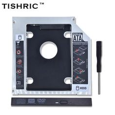 TISHRIC Universal Aluminum 2nd HDD Caddy 12.7mm SATA 3.0 DVD Adapter for 2.5'' 7-12.5mm SSD Case Enclosure CD-ROM Optibay  Price: 3.92 USD