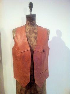 #Vintage Jordache tan leather vest in size M/L. Price is $68.00.