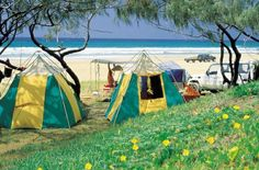 Camping on the Noosa North Shore in the Cooloola National Park.